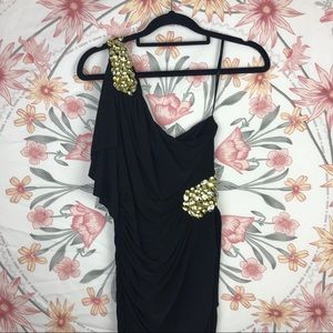 Black and gold one shoulder jewelled dress
